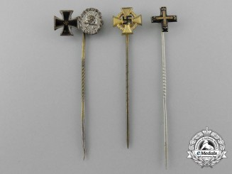 A Lot of Three First and Second War German Miniature Stickpins