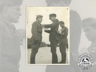 A Fine Second War Croatian Photo of an PTB Officer Receiving the Award