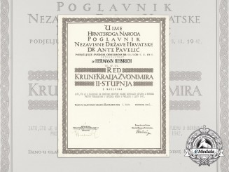 A Formal Croatian Document for the Award of the King Zvonimir Order; 2nd. Class with Swords