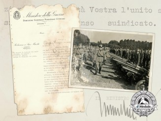 An Italian National Institute for Cultural Relations Document Signed by Mussolini
