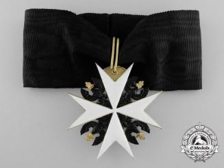 A Prussian Johanniter Order, Ehrenritter Neck Cross in Gold by Godet