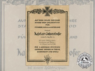 A Hero's Death Certificate in Honour of the Fallen Soldier Lieutenant Kajetan Geisenhofer