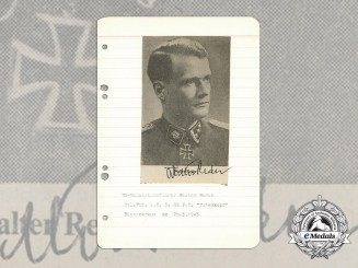 A Wartime Daybook Page Signed by SS-Hauptsturmführer & Knight's Cross Recipient Walter Reder