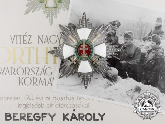 A Hungarian Grand Cross of the Order of Merit with Swords and War Decoration to Károly Beregfy