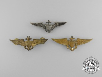 Three United States Navy Naval Aviator Badges