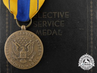 An American Selective Service System Second World War Service Medal with Case