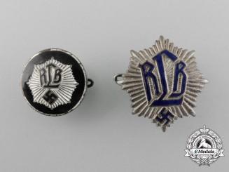"""Two National Air Raid Protection League """"Luftschutz"""" (Reichsluftschutzbund =RLB) Badges"""