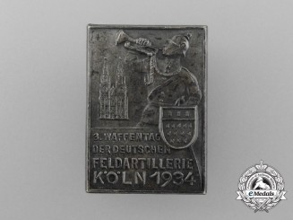 """A High Quality 1934 Cologne """"3rd Day of the German Field Artillery"""" Badge"""