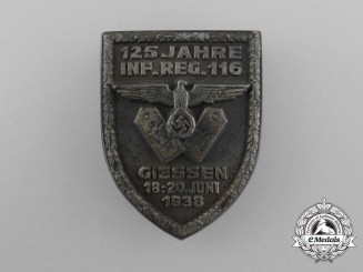 Germany, Heer. A 1938 Giessen 125th Anniversary of the 116th Infantry Regiment Badge
