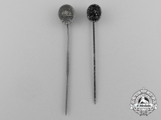 A Grouping of Two Second War German Miniature Wound Badge Stick Pins