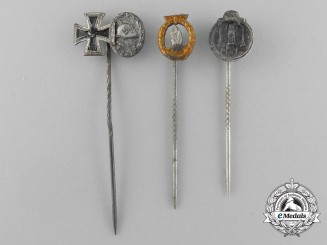 A Grouping of Three Second War German Miniature Stick Pins