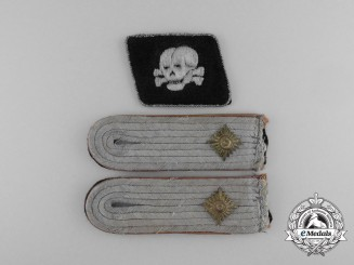 A Set Waffen-SS Obersturmführer Camp Guard Shoulder Boards & Collar Tabs