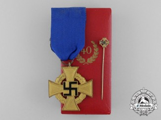A Cased German 40-Year Faithful Service Cross; First Class by Deschler & Sohn; with Miniature Stick Pin