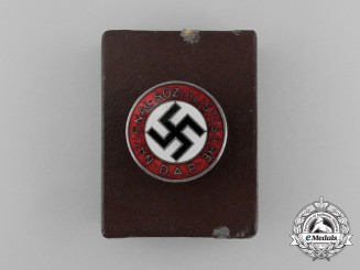 A NSDAP Party Member's Lapel Badge in its Original LDO Case of issue by Ferdinand Wiedmann
