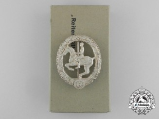 A Mint Silver Grade German Horseman's Badge by Steinhauer & Lück in its Original Case of Issue