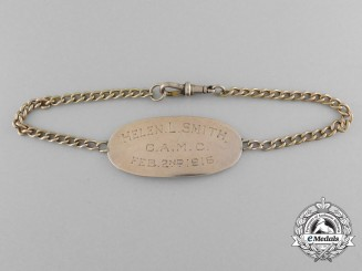 A First War Gold ID Bracelet of to Canadian Nursing Sister Helen Lawrie Smith