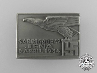 A Fine Quality 1934 SA Brigade Jena/42 Rally Badge by Wernstein Jena
