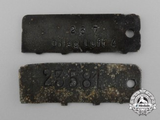 A Lot of Two Second War POW ID Tags; Stalag VIII-C and Stalag Luft IV