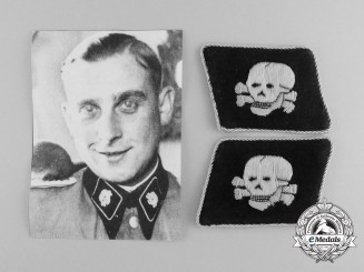 "An Extremely Scarce Mint & Unissued Pair of ""SS-Death's Head Unit"" Officer's Collar Tabs"