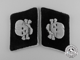 "Germany. An Extremely Scarce Mint & Unissued Pair of ""SS-Death's Head Unit"" Officer's Collar Tabs"