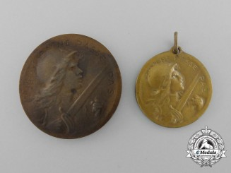 Two First War French Verdun Commemorative Medals