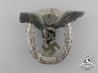 An Early Quality Luftwaffe Pilot's Badge by Gebrüder Wegerhoff of Lüdenscheid