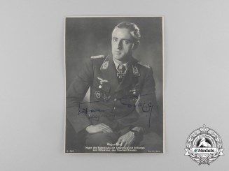 A Mint Signed Picture Postcard of Luftwaffe Fighter Ace and Knight's Cross Recipient Hermann Graf