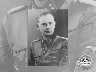 A Signed Photograph of Knight's Cross & German Cross Recipient SS-Sturmbannführer Lohmann