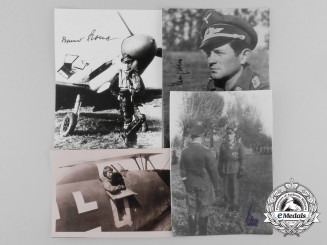 A Lot of Four Knight's Cross Recipient Signed Post-War Photographs