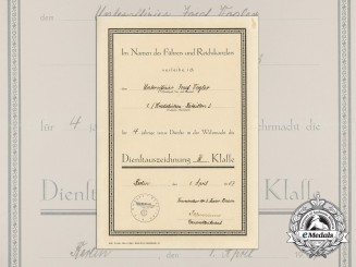 An Award Document for Wehrmacht Long Service Award to the Kradschützen