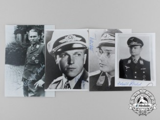 Germany, Third Reich. A Lot of Four Knight's Cross Recipient Signed Post-War Photographs