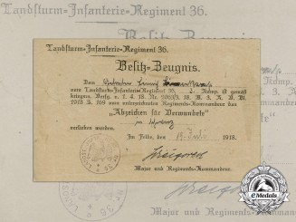 A 1918 Award Document for a Wound Badge; Landsturm Infantry Regiment 36