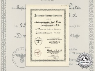 A Wehrmacht Long Service Award Document to Government Senior Inspector
