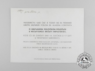 An Official Invitation to Speech of Dr. Lorković