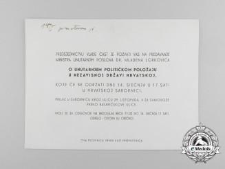 An Official Invitation to Speech of Dr. Lorković