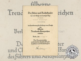 A 1941 Faithful Service Medal Award Document