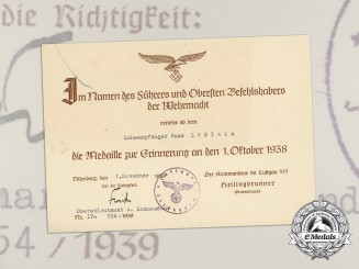 A 1939 Award Document for Sudetenland Medal