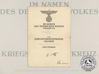 A 1944 War Merit Cross First Class Award Document