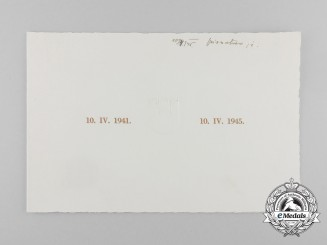 An Official Invitation for 4th Year of NDH, 1941-1945