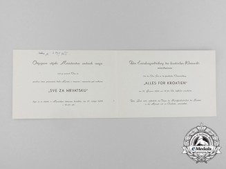 "An Invitation for the Event ""All for Croatia"", 16.1.1944"