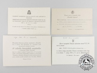 Four Second War Croatian Invitations to Events in Zagreb, 1942-1944 Period