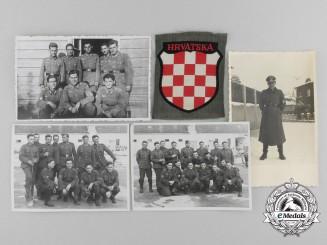 "A Second War Croatian Army Volunteer Shield ""HRVATSKA"", with 4 Photos"