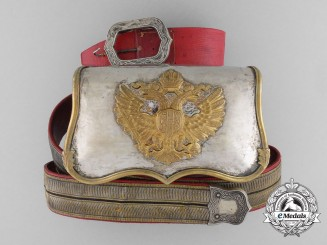 A Fine Austrian Cavalry Regimental Officer's Dress Cartouche with Bandolier 1900-1915