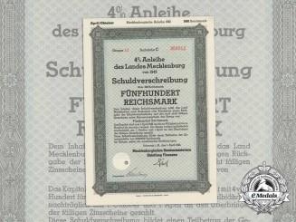 A 1942 Mecklenburg State Debenture Bond for 500 Reichsmark
