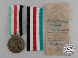 A German-Italian Africa Campaign Medal with its Original Packet of Issue by Lorioli Fratelli