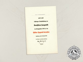 A 1941 Formal HJ Acceptance Document