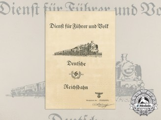 A German Reichsbahn Service for Führer and Volk Award Document