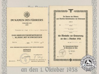 Germany, Kriegsmarine. Award Documents to Kapitän zur See Stiegel; Knight's Cross Recipient