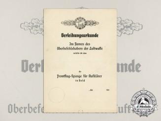 An Unissued Gold Grade Reconnaissance Squadron Clasp Award Document