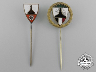 Two Kyffhäuser League (Kyffhäuserbund) Veterans Association Stickpins